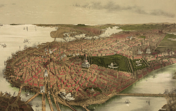 Ilustración de Boston en 1877