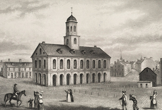 Ilustración del mercado Faneuil Hall de 1775 en Boston