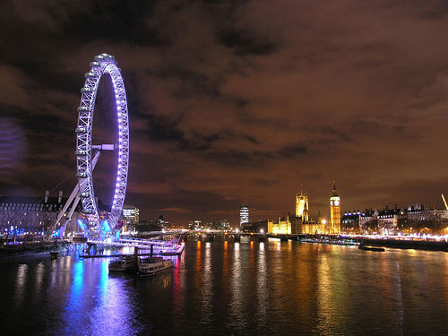 Foto del London Eye de noche (El Ojo de Londres)