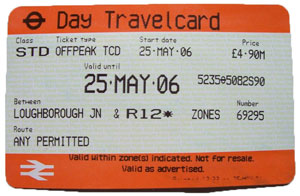 Ticket Metro Londres travelcard