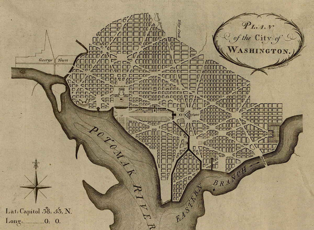 Primer mapa de Washington del año 1792