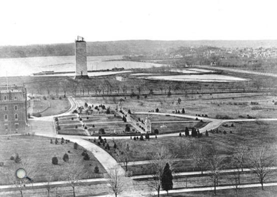 Obras de construcción del monumento a Washington foto tomada en 1865